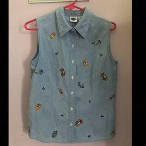 Disney Winnie the Pooh Embroidered denim shirt S